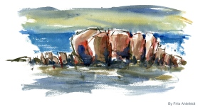 Rocks, eastcoast, Bornholm, Denmark. Watercolor