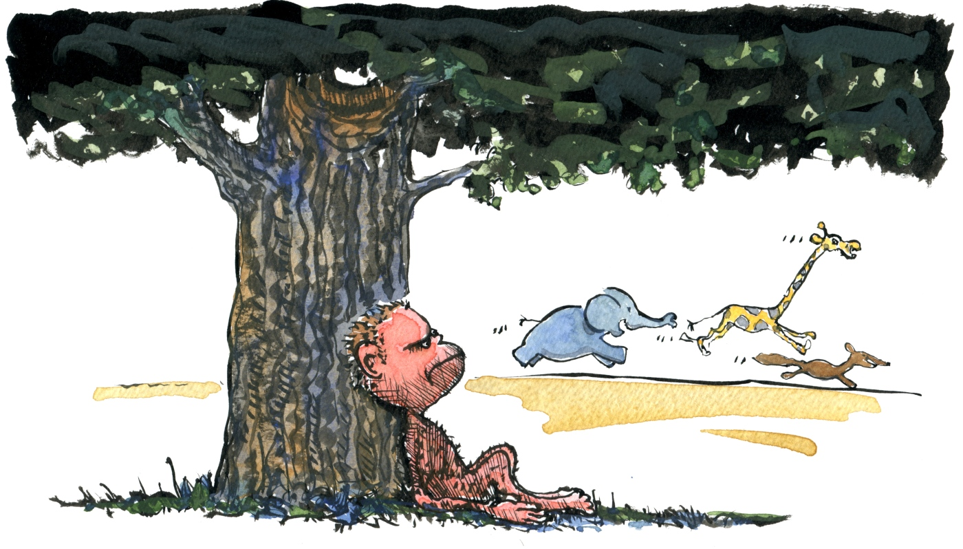 drawing of a caveman wondering under a tree
