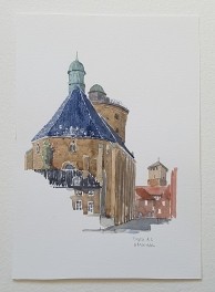 Round tower - runde taarn Copenhagen Original watercolor