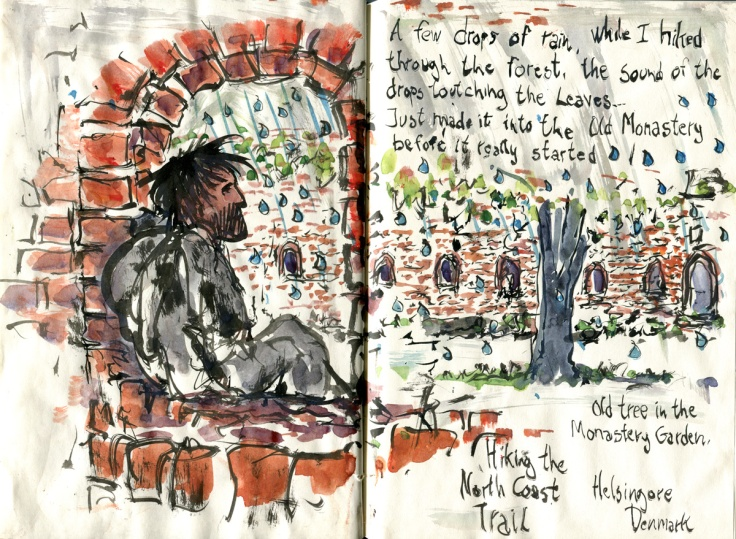 Sketch of a guy sitting in a cloister, with his backpack while it rains