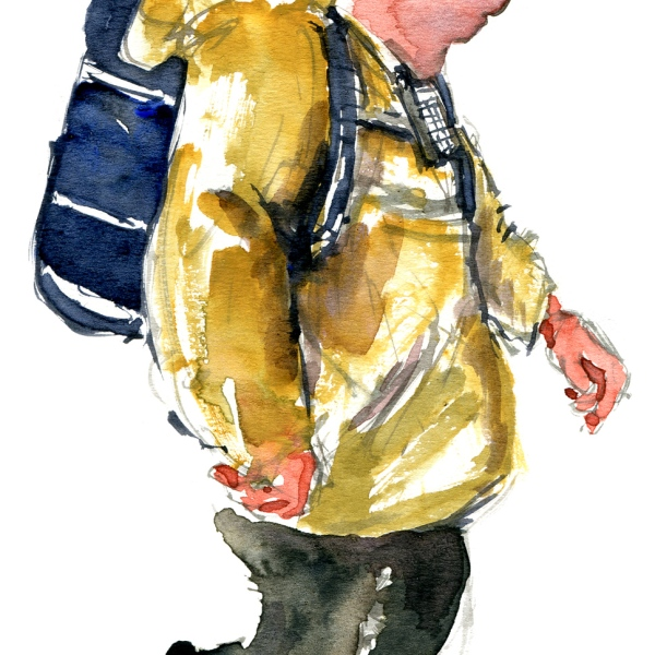 Watercolor of a man with backpack