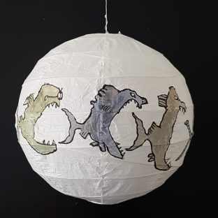 Drawing of fish eats fish eats fish on rice paper lamp. Artwork by Frits Ahlefeldt