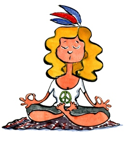 Girl meditating with feathers in her hair