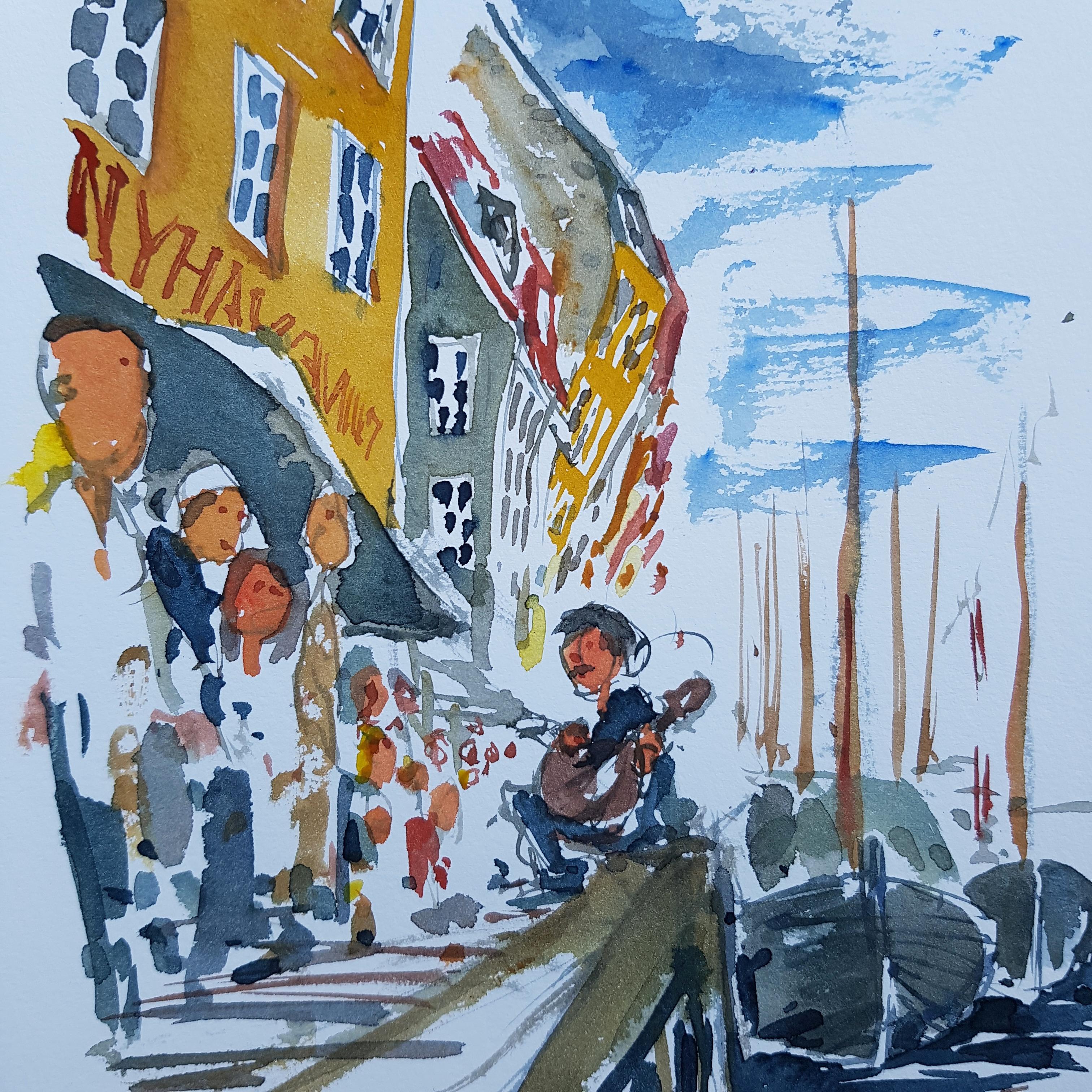 Watercolor Nyhavn in Copenhagen by Frits Ahlefwldt