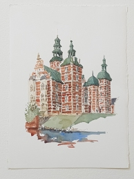 Rosenborg Castle Copenhagen Original watercolor