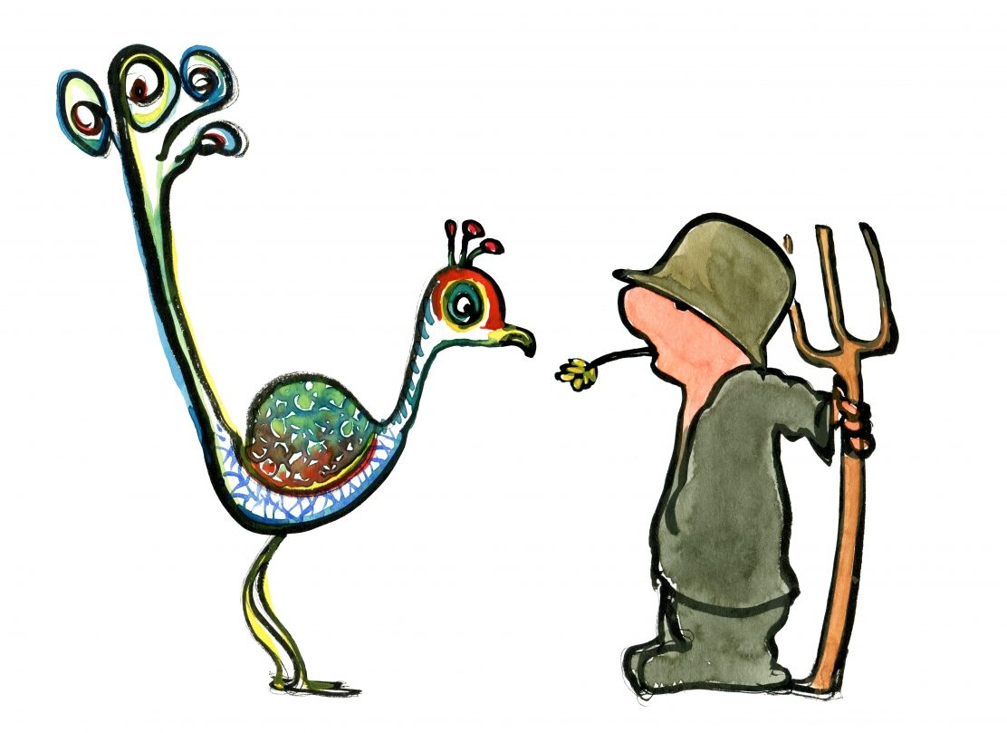 Drawing of a pheasant and peasant watching each other