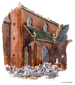 Cafe by church. Copenhagen Watercolor painting by Frits Ahlefeldt
