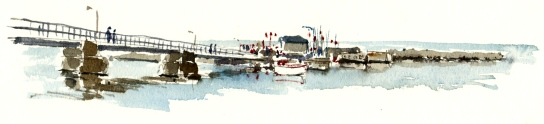 Snogebaek harbour, Bornholm, Watercolor