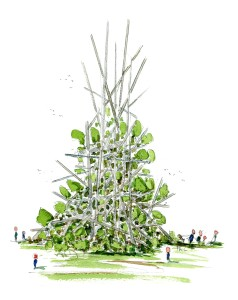 Concept sketch idea of a biodiversity sculpture, made from local garden cut off. idea by Frits Ahlefeldt