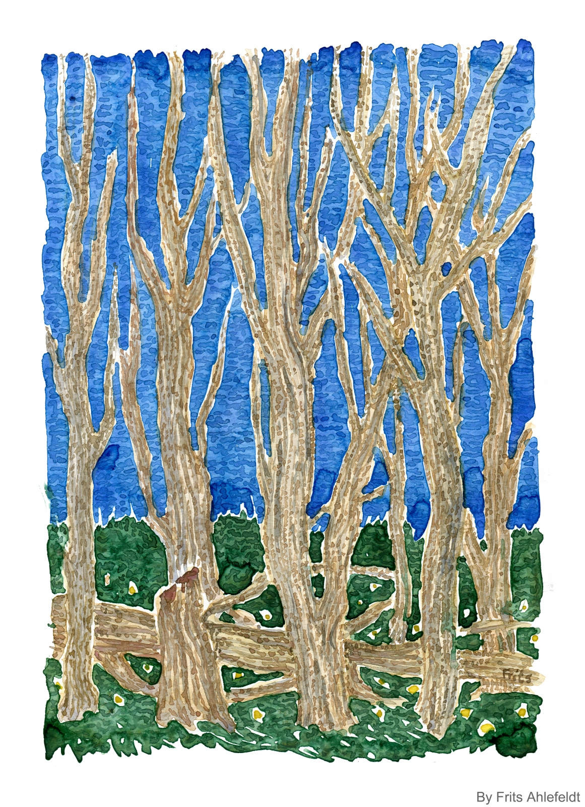 Watercolor of tall dead trees in green grass