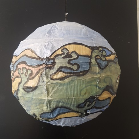Art on sphere - painting by Frits Ahlefeldt