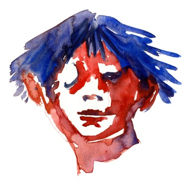 Head study Watercolor people portrait by Frits Ahlefeldt