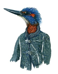 Watercolor painting of a kingfisher bird in green clothing. Portrait by Frits Ahlefeldt
