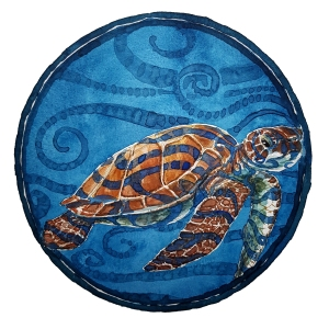 Watercolor of sea turtle in circle by Frits Ahlefeldt