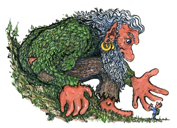 Hiker talking to a giant troll , illustration by Frits Ahlefeldt