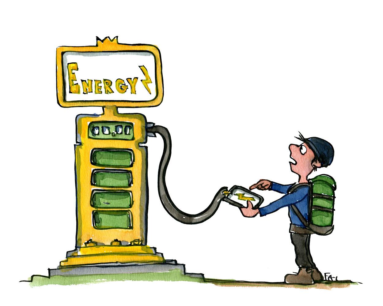 hiker recharging mobile phone on gas station like power station. illustration by Frits Ahlefeldt