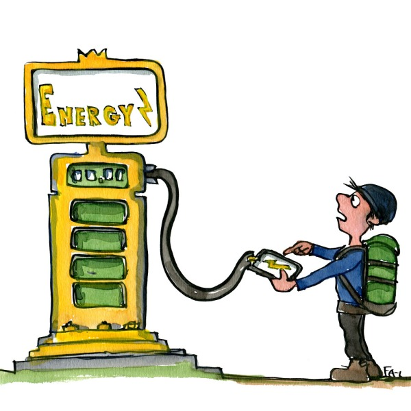 hiker recharging mobile phone on gas station like power station. illustration by Frits Ahlefeldt