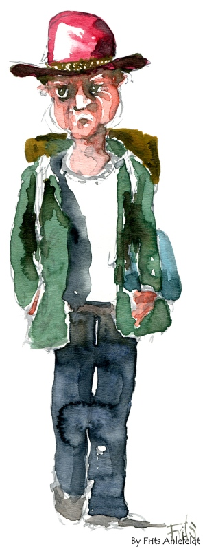 Watercolor of a wandering vagabond