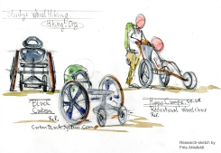 Wheelchair research of existing designs. Drawings by Frits Ahlefeldt