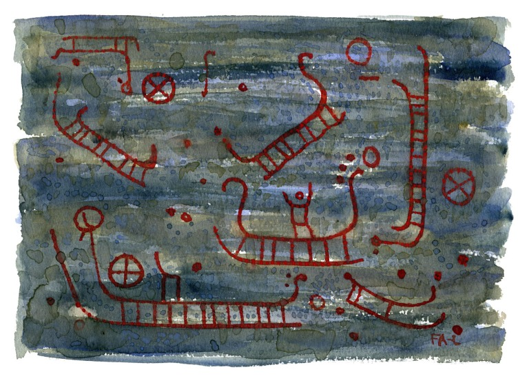 watercolor of the Madsebakke rock carvings on Bornholm, Allinge. Watercolor by Frits Ahlefeldt