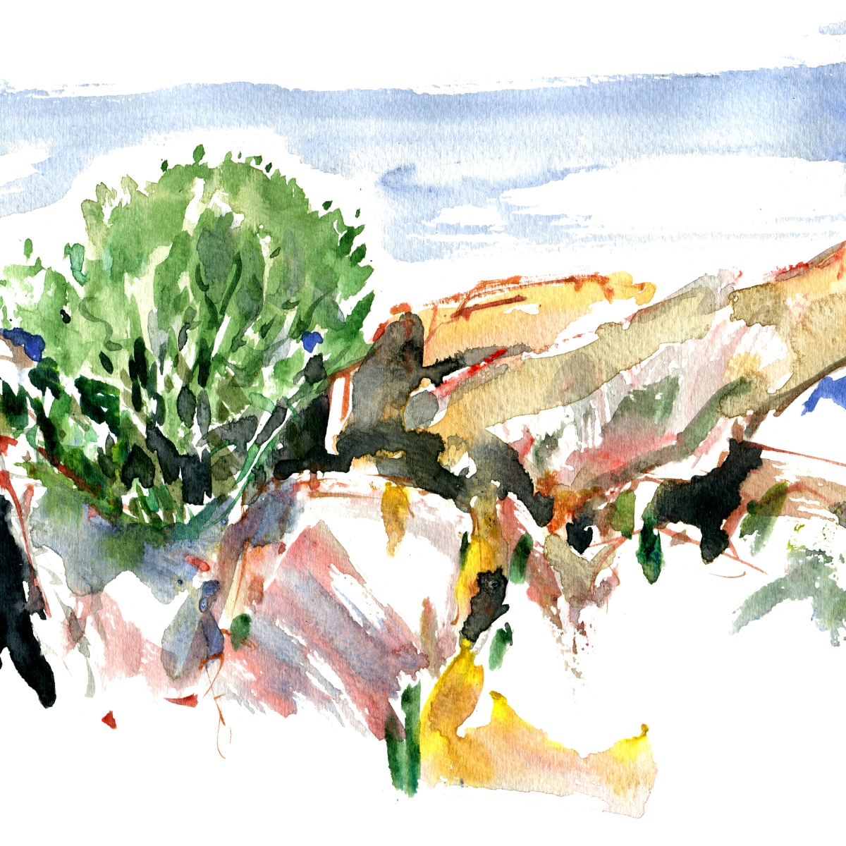 Rocks, Bornholm, Watercolor by Frits Ahlefeldt
