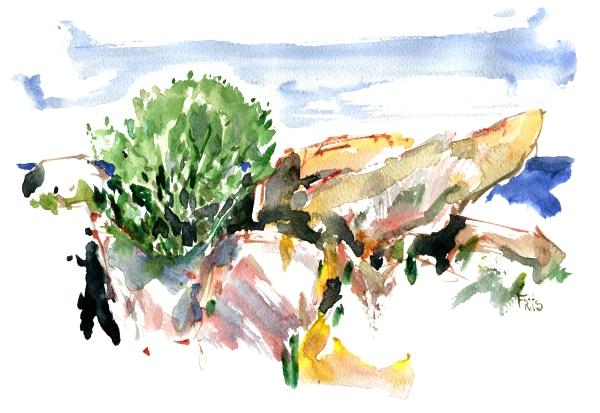 Rocks, Bornholm, Watercolor by Frits Ahlefeldt