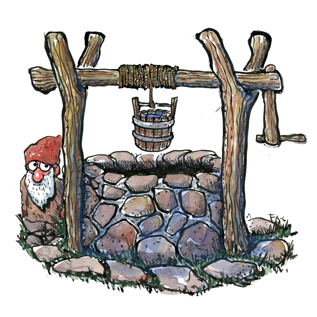 Well with small garden elf. illustration by Frits Ahlefeldt