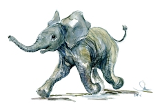watercolor-child-elephant-happy-running-animal-by-frits-ahlefeldt