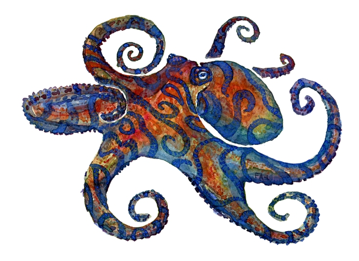 Watercolor of an eight armed octopus with tribal stripes