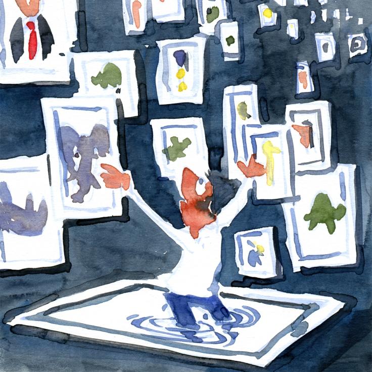 man standing among framed images