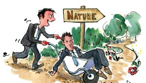 man taking a co-worker out in nature