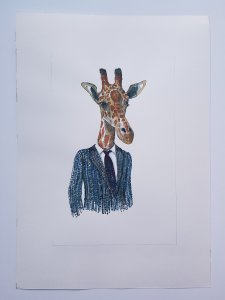 drawing of giraffe in clothes