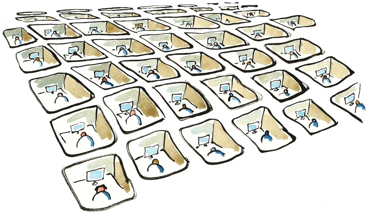Drawing of a lot of small people working in cubes