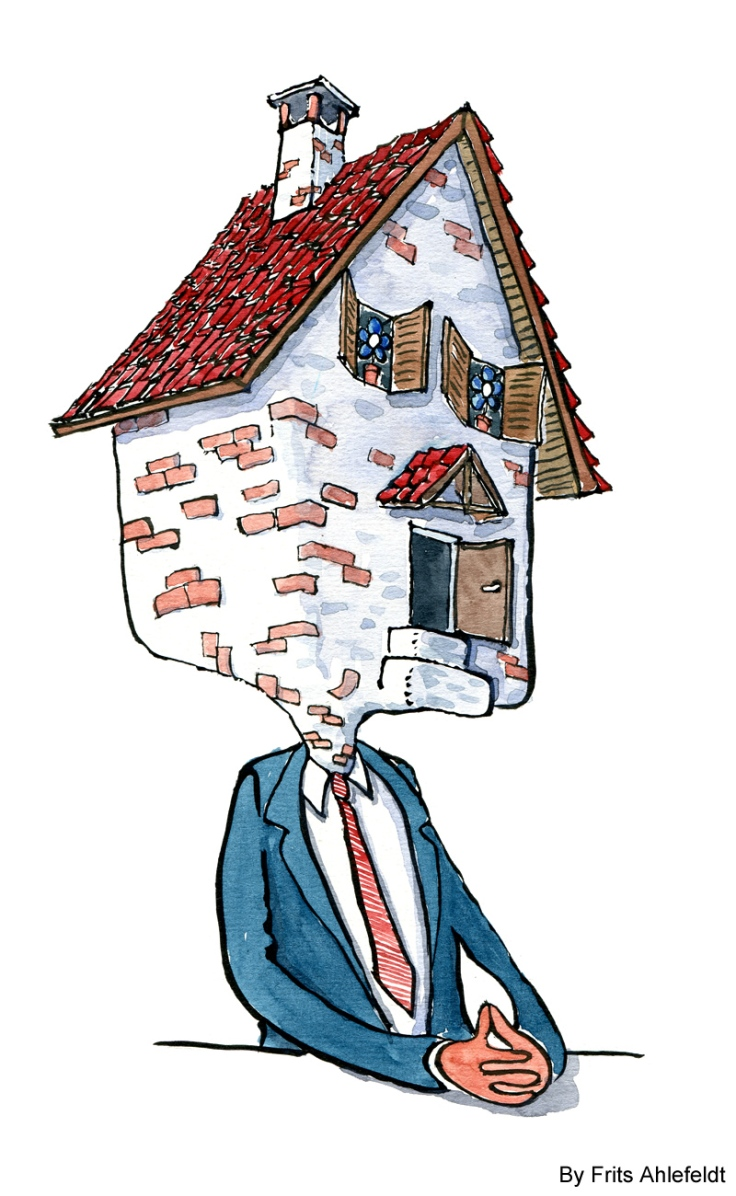 Drawing of a businessman like creature with a house as head