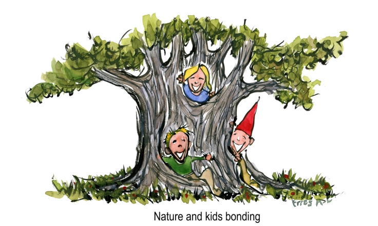 Drawing of kids playing by a huge tree