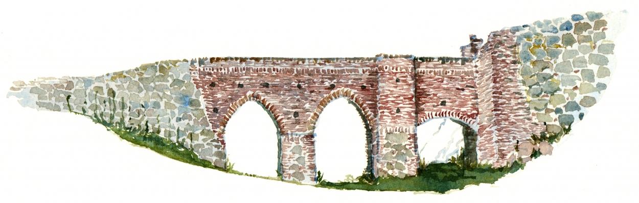 Bridge to castle, watercolor, Bornholm