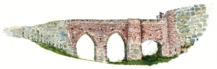 Bridge to castle, watercolor, Bornholm