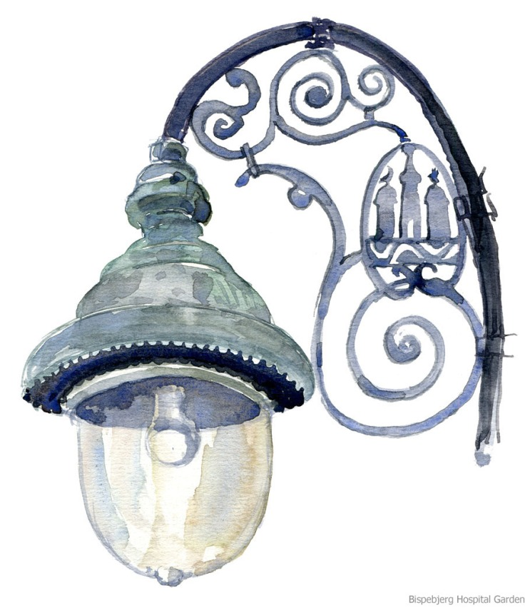 Watercolour of an old lamp