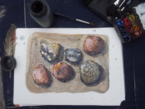 Watercolor of beach stones