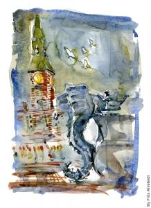Watercolor of fountain on Copenhagen main square