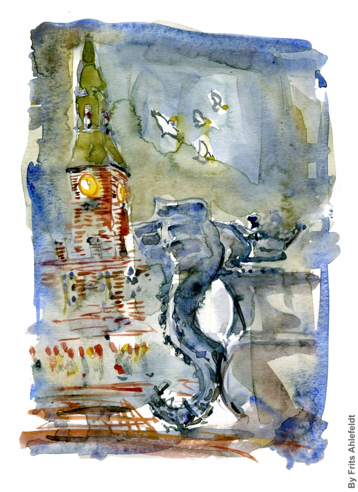 Watercolor of fountain on Copenhagen main square