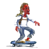 Man on skateboard - Watercolor people portrait by Frits Ahlefeldt