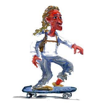 Man on skateboard - Watercolor people portrait by Frits Ahlefeldt