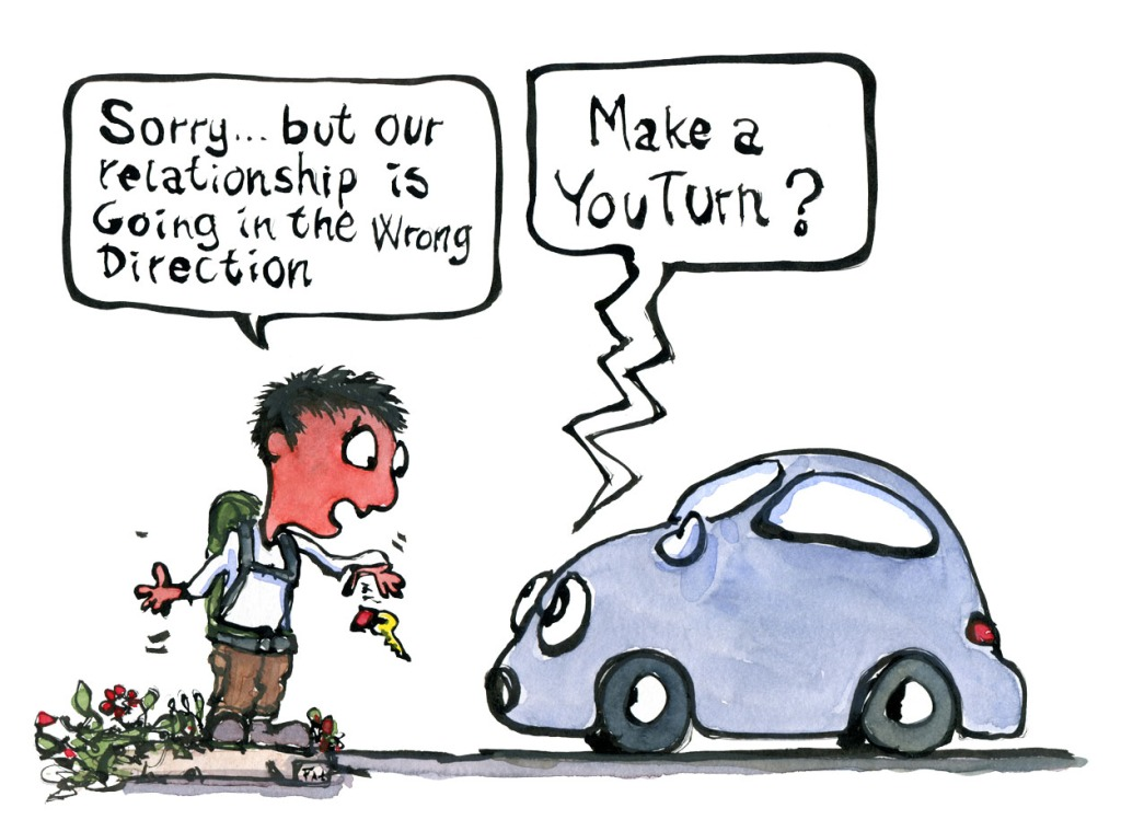 "Man leaving a car and the car saying ""make a youturn - illustration by Frits Ahlefeldt"