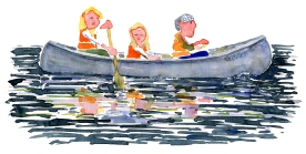 watercolor illustration of canoe with family