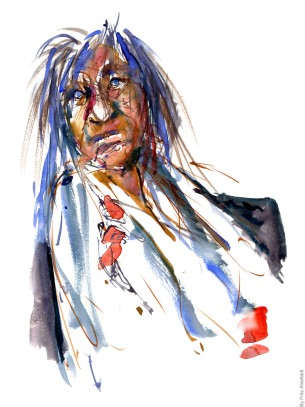 Woman in wihite dress sitting - Watercolor people portrait by Frits Ahlefeldt