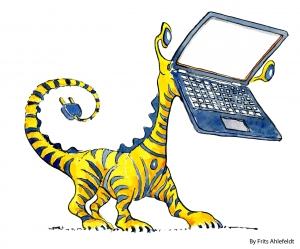 illustration of half computer half animal creature. (tiger)
