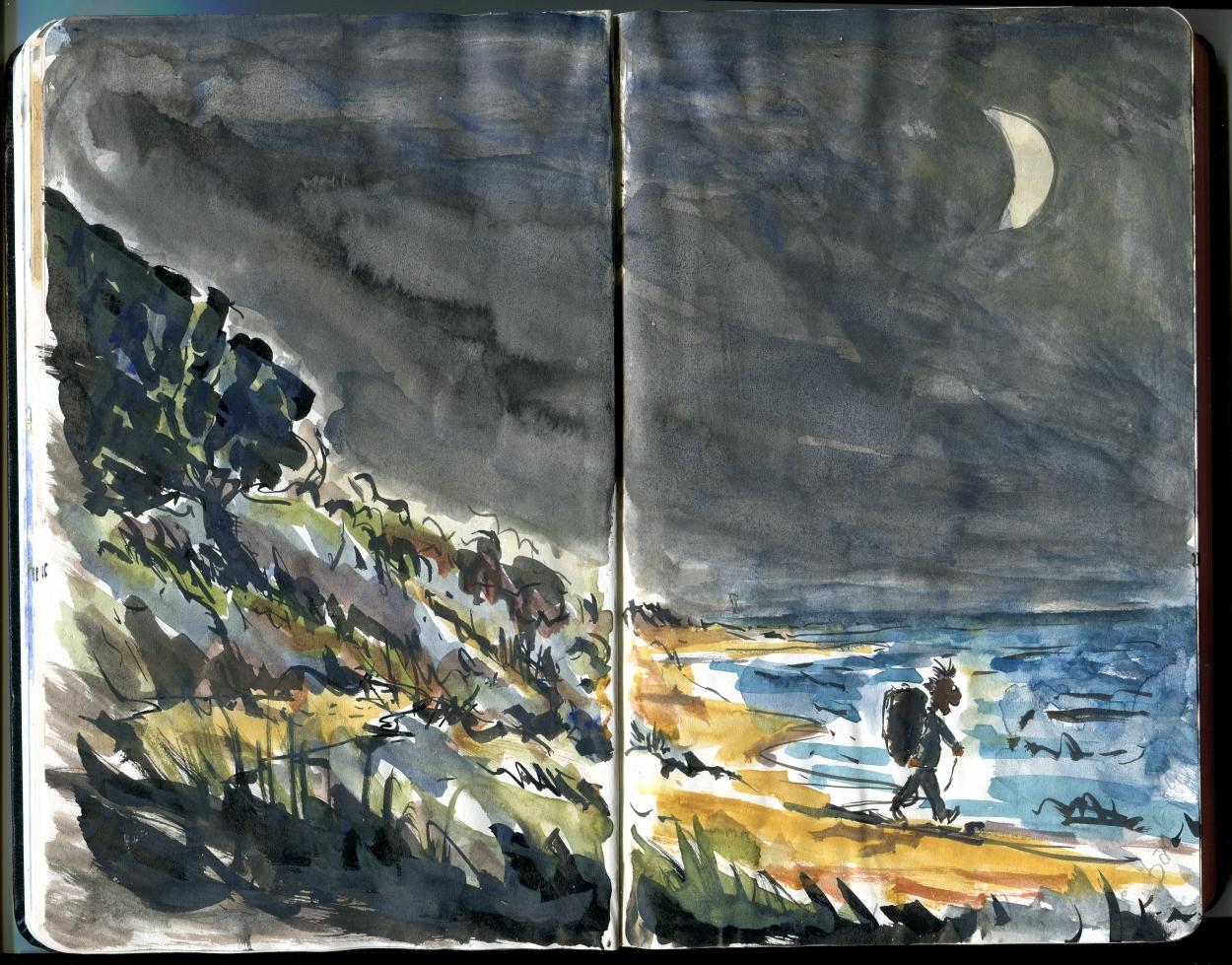 Hiking at night - Moleskine Hiking Sketch from Bornholm