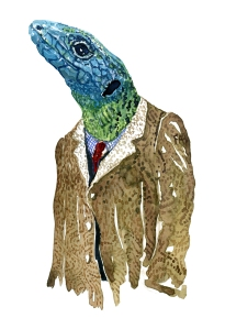 Lacertids Lizard in clothing Fashion watercolor painting of animal in suit by Frits Ahlefeldt