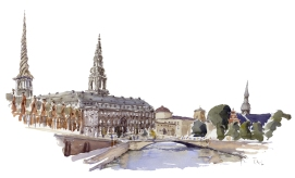 Christiansborg, Copenhagen Watercolor painting by Frits Ahlefeldt